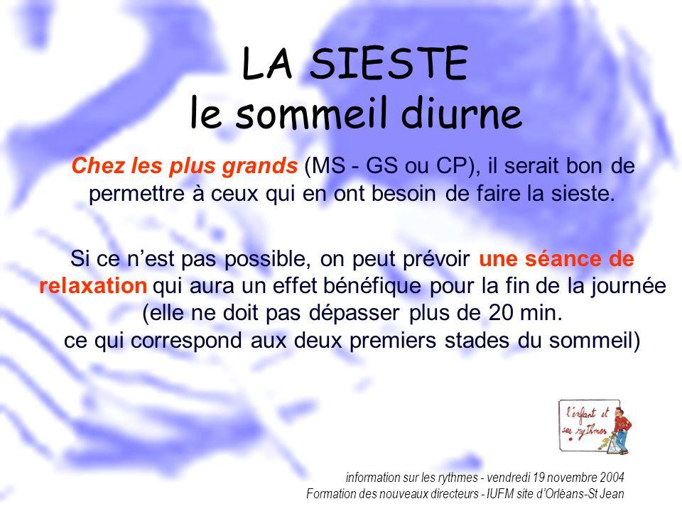 information sur les rythmes - vendredi 19 novembre 2004 Formation des nouveaux directeurs - IUFM site dOrléans-St Jean LA SIESTE le sommeil diurne Che