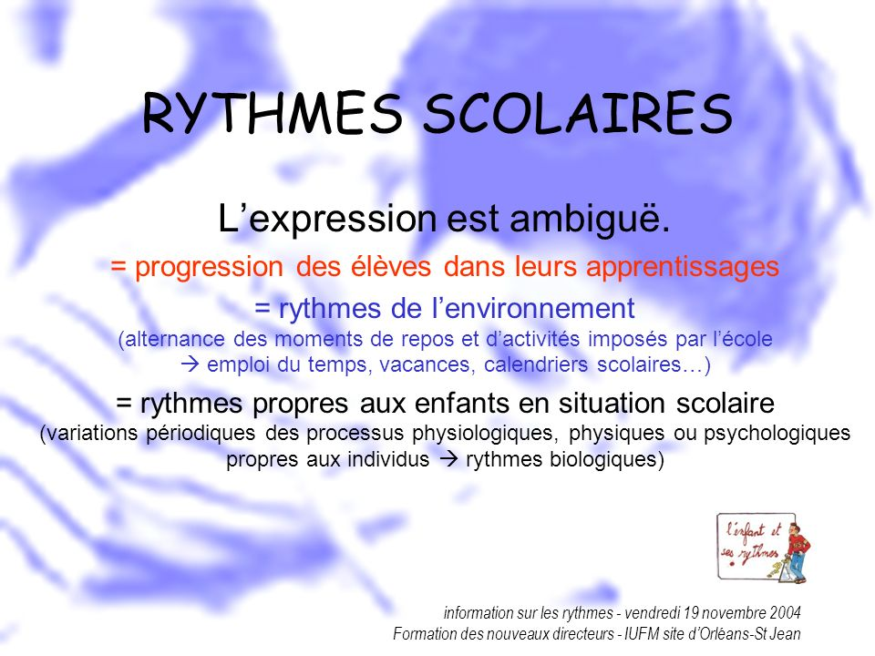 information sur les rythmes - vendredi 19 novembre 2004 Formation des nouveaux directeurs - IUFM site dOrléans-St Jean CONCLUSION Le sommeil est un rythme de base.