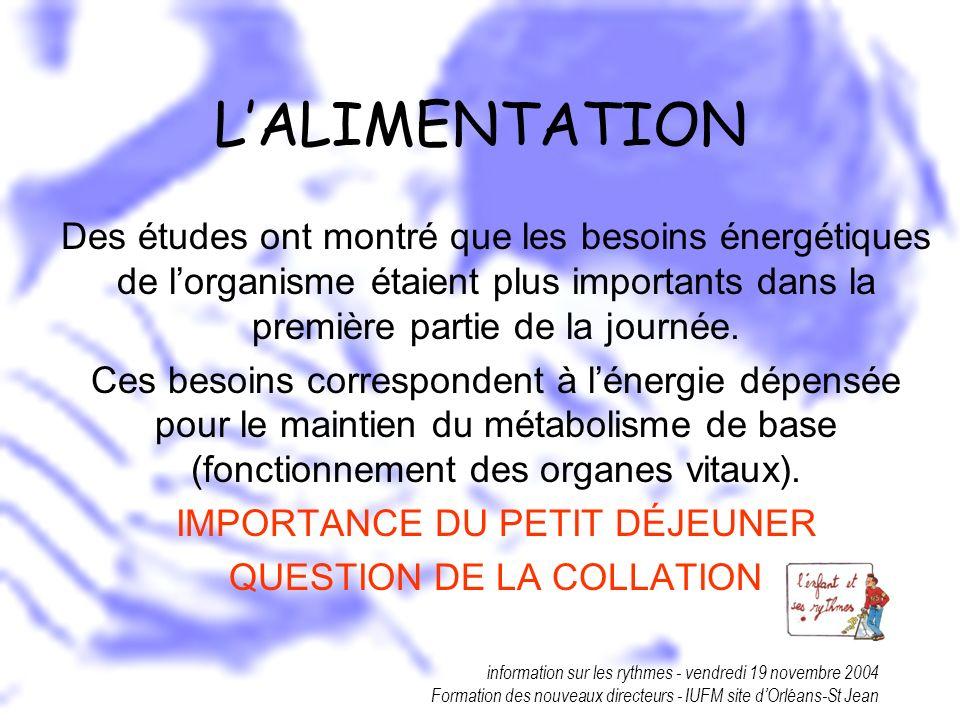 information sur les rythmes - vendredi 19 novembre 2004 Formation des nouveaux directeurs - IUFM site dOrléans-St Jean LALIMENTATION Des études ont mo