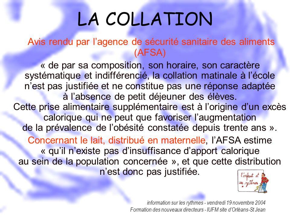 information sur les rythmes - vendredi 19 novembre 2004 Formation des nouveaux directeurs - IUFM site dOrléans-St Jean LA COLLATION Avis rendu par lag