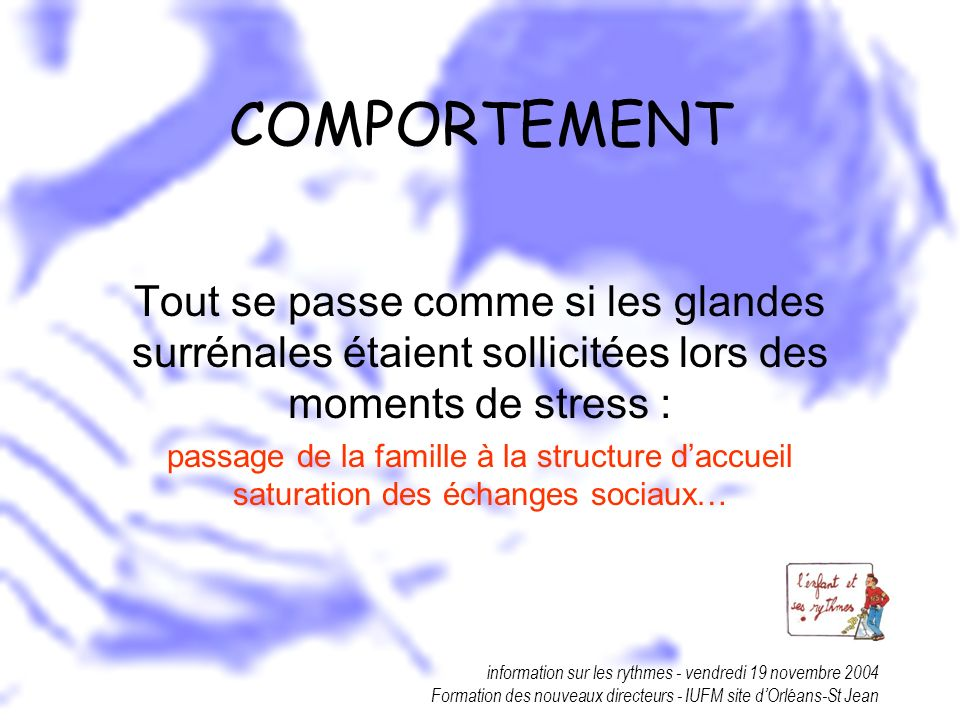 information sur les rythmes - vendredi 19 novembre 2004 Formation des nouveaux directeurs - IUFM site dOrléans-St Jean COMPORTEMENT Tout se passe comm
