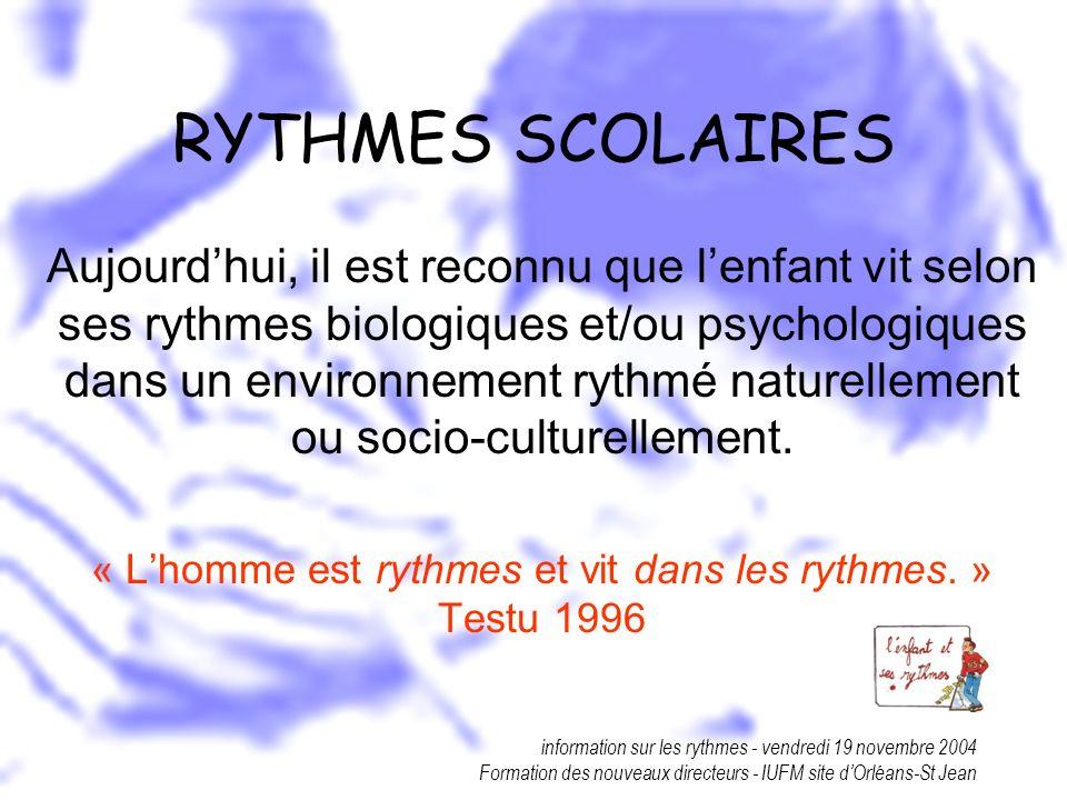 information sur les rythmes - vendredi 19 novembre 2004 Formation des nouveaux directeurs - IUFM site dOrléans-St Jean RYTHMES SCOLAIRES Aujourdhui, i