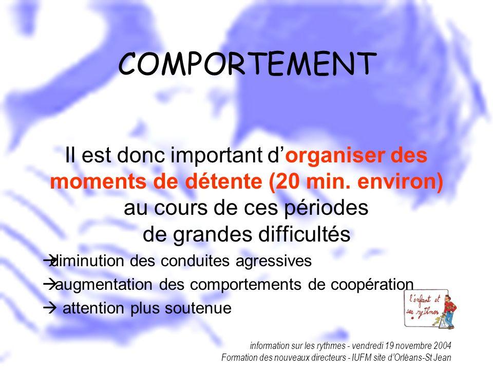 information sur les rythmes - vendredi 19 novembre 2004 Formation des nouveaux directeurs - IUFM site dOrléans-St Jean COMPORTEMENT Il est donc import