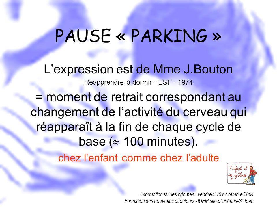 information sur les rythmes - vendredi 19 novembre 2004 Formation des nouveaux directeurs - IUFM site dOrléans-St Jean PAUSE « PARKING » Lexpression e