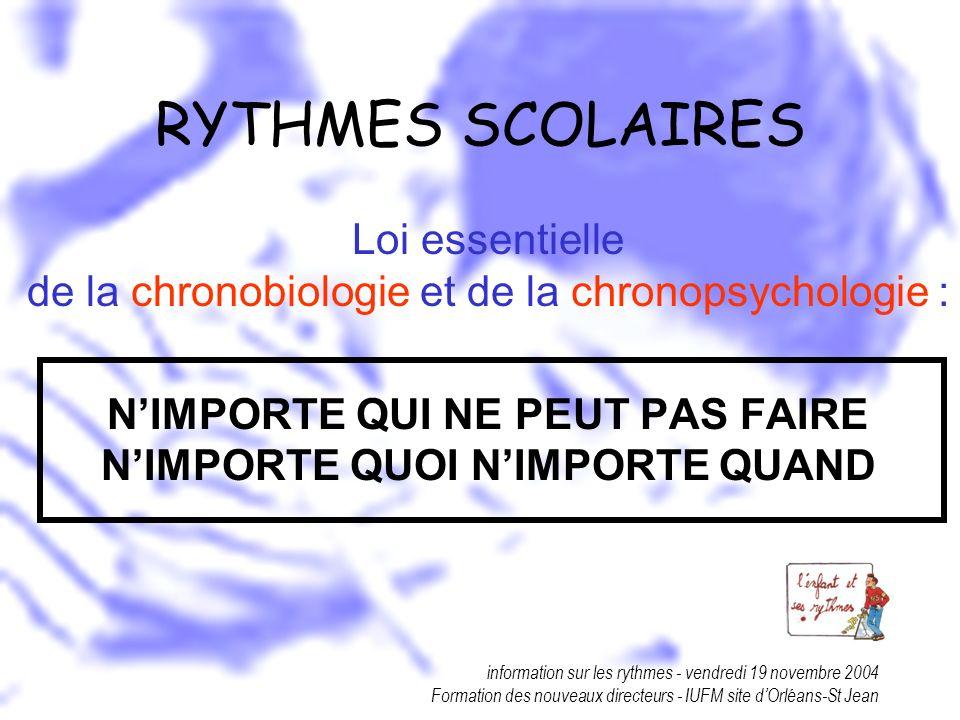 information sur les rythmes - vendredi 19 novembre 2004 Formation des nouveaux directeurs - IUFM site dOrléans-St Jean RYTHMES SCOLAIRES Loi essentiel