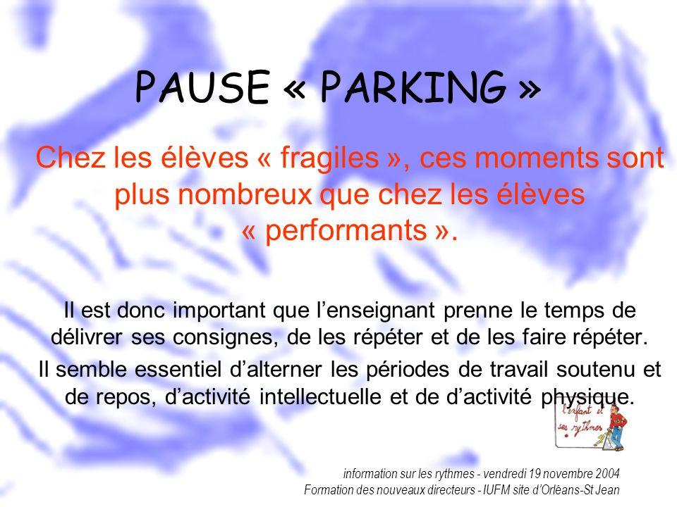 information sur les rythmes - vendredi 19 novembre 2004 Formation des nouveaux directeurs - IUFM site dOrléans-St Jean PAUSE « PARKING » Chez les élèv