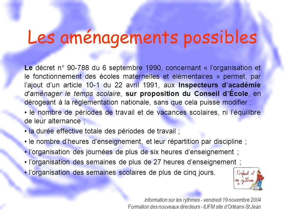 information sur les rythmes - vendredi 19 novembre 2004 Formation des nouveaux directeurs - IUFM site dOrléans-St Jean Les aménagements possibles Le d