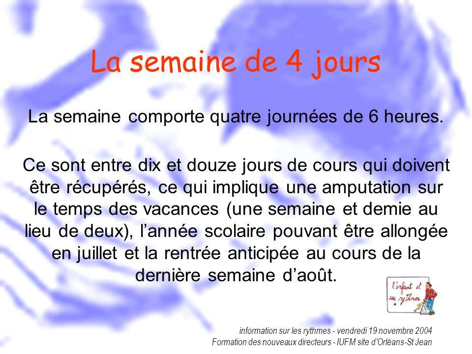 information sur les rythmes - vendredi 19 novembre 2004 Formation des nouveaux directeurs - IUFM site dOrléans-St Jean La semaine de 4 jours La semain