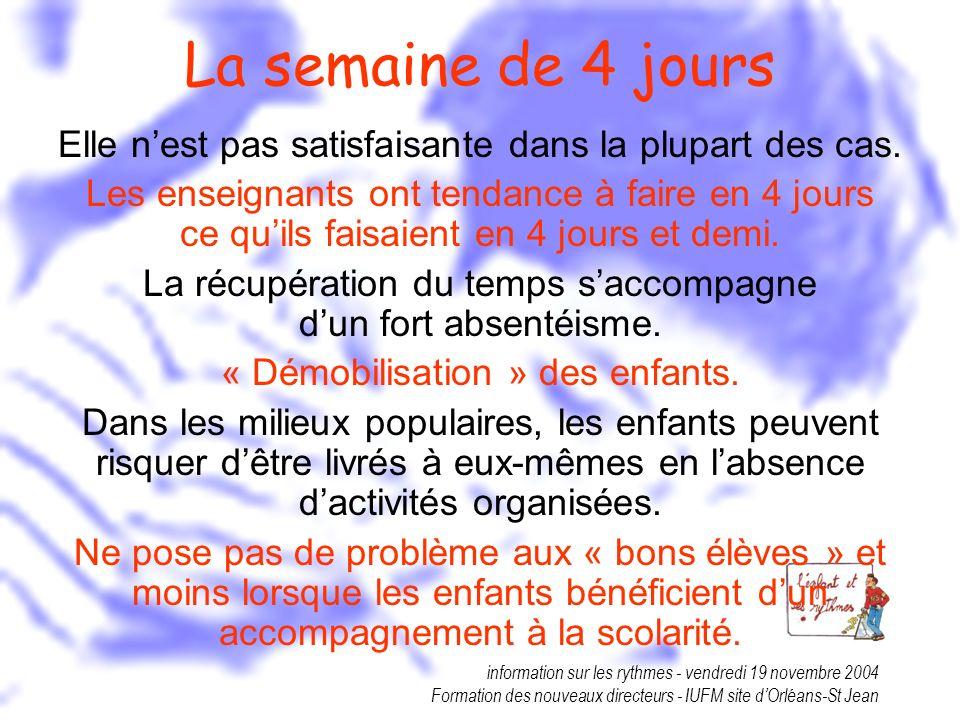 information sur les rythmes - vendredi 19 novembre 2004 Formation des nouveaux directeurs - IUFM site dOrléans-St Jean La semaine de 4 jours Elle nest