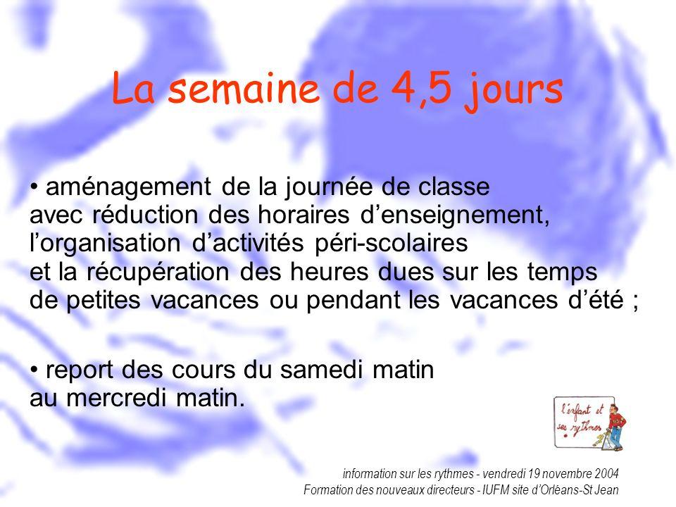 information sur les rythmes - vendredi 19 novembre 2004 Formation des nouveaux directeurs - IUFM site dOrléans-St Jean La semaine de 4,5 jours aménage