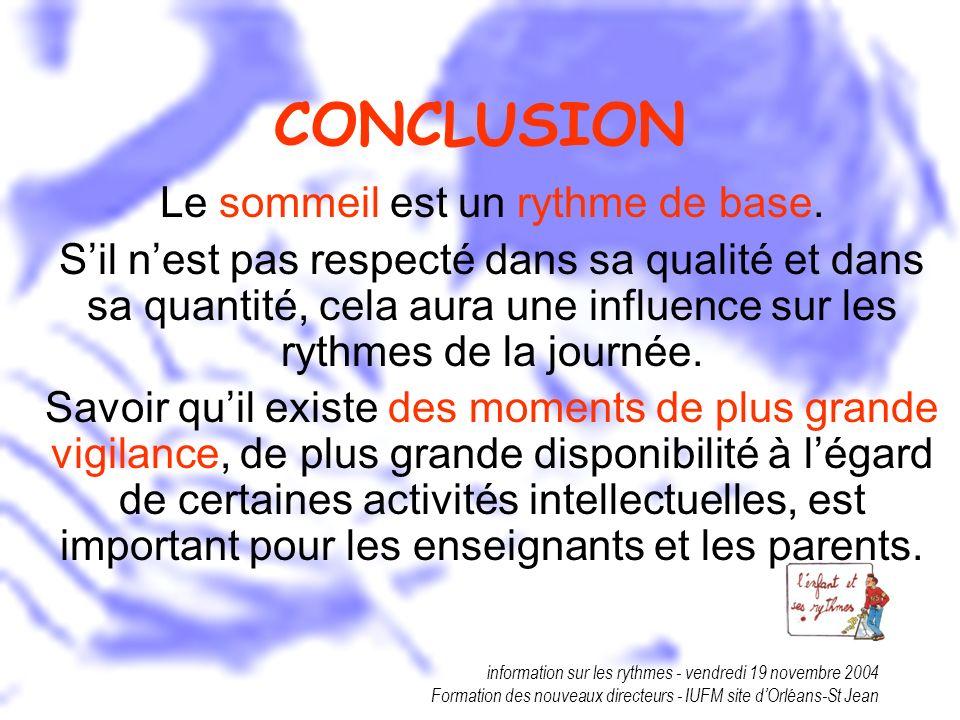 information sur les rythmes - vendredi 19 novembre 2004 Formation des nouveaux directeurs - IUFM site dOrléans-St Jean CONCLUSION Le sommeil est un ry