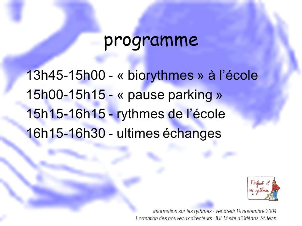 information sur les rythmes - vendredi 19 novembre 2004 Formation des nouveaux directeurs - IUFM site dOrléans-St Jean programme 13h45-15h00 - « biory