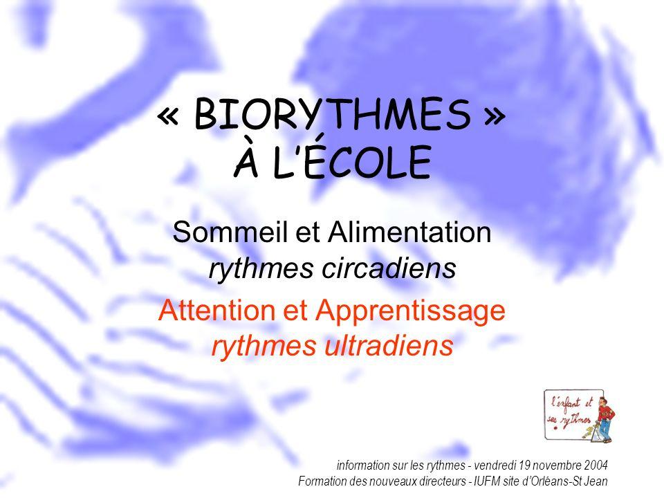 information sur les rythmes - vendredi 19 novembre 2004 Formation des nouveaux directeurs - IUFM site dOrléans-St Jean « BIORYTHMES » À LÉCOLE Sommeil