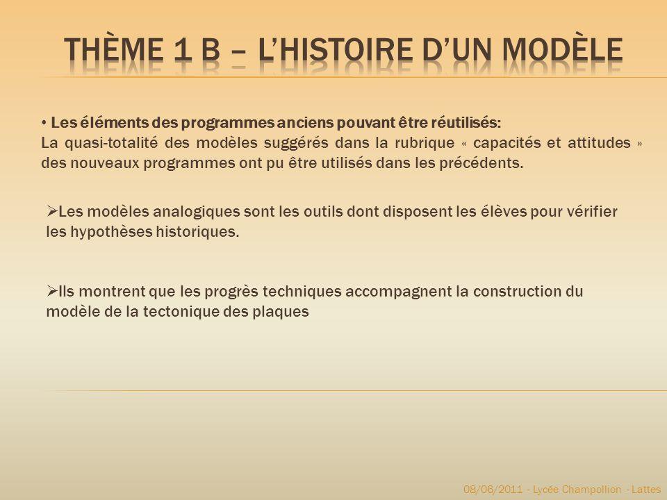 Les éléments des programmes anciens pouvant être réutilisés: La quasi-totalité des modèles suggérés dans la rubrique « capacités et attitudes » des no