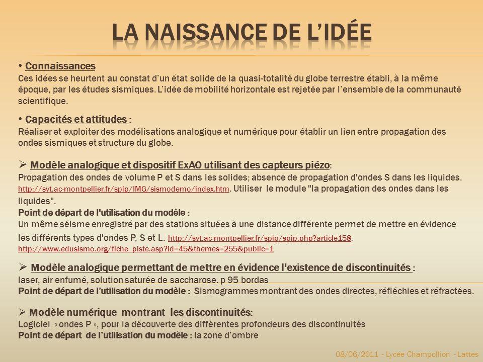 08/06/2011 - Lycée Champollion - Lattes Capacités et attitudes : Réaliser et exploiter des modélisations analogique et numérique pour établir un lien