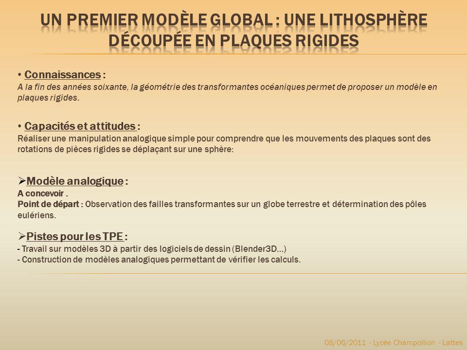 08/06/2011 - Lycée Champollion - Lattes Connaissances : A la fin des années soixante, la géométrie des transformantes océaniques permet de proposer un