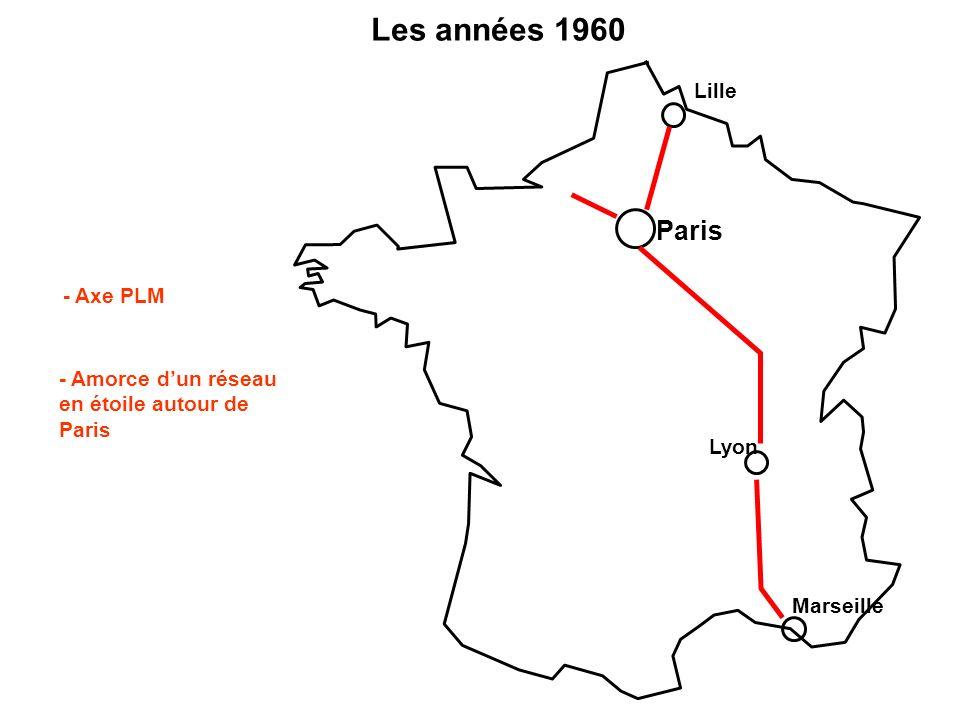 Les années 1960 - Axe PLM Paris Lyon Marseille Lille - Amorce dun réseau en étoile autour de Paris