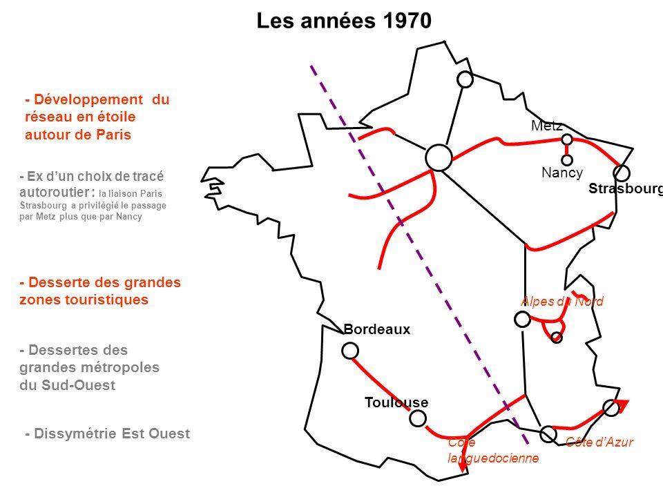 Les années 1970 - Développement du réseau en étoile autour de Paris - Ex dun choix de tracé autoroutier : la liaison Paris Strasbourg a privilégié le