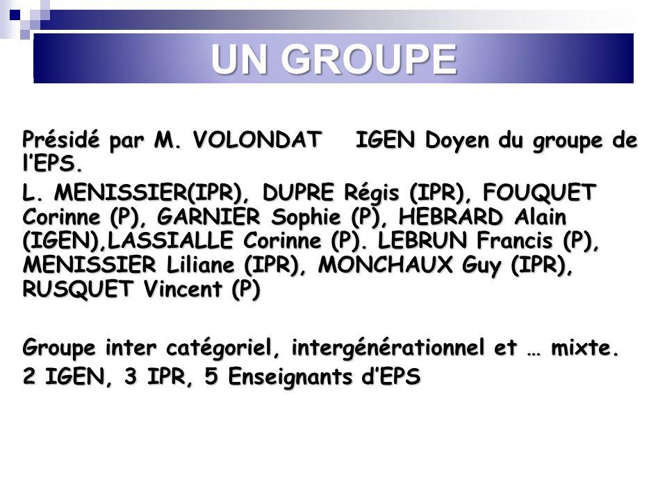 UN GROUPE Présidé par M. VOLONDAT IGEN Doyen du groupe de lEPS. L. MENISSIER(IPR), DUPRE Régis (IPR), FOUQUET Corinne (P), GARNIER Sophie (P), HEBRARD
