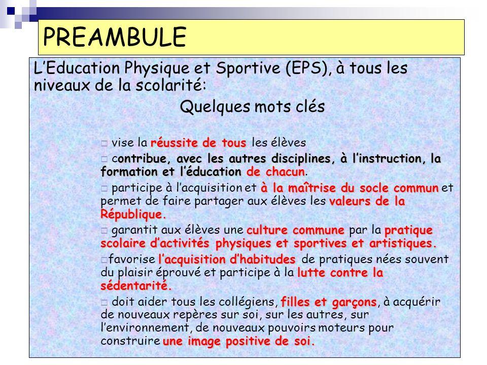 PREAMBULE LEducation Physique et Sportive (EPS), à tous les niveaux de la scolarité: Quelques mots clés réussite de tous vise la réussite de tous les