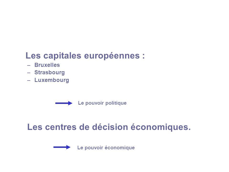 Les capitales européennes : –Bruxelles –Strasbourg –Luxembourg Le pouvoir politique Les centres de décision économiques. Le pouvoir économique