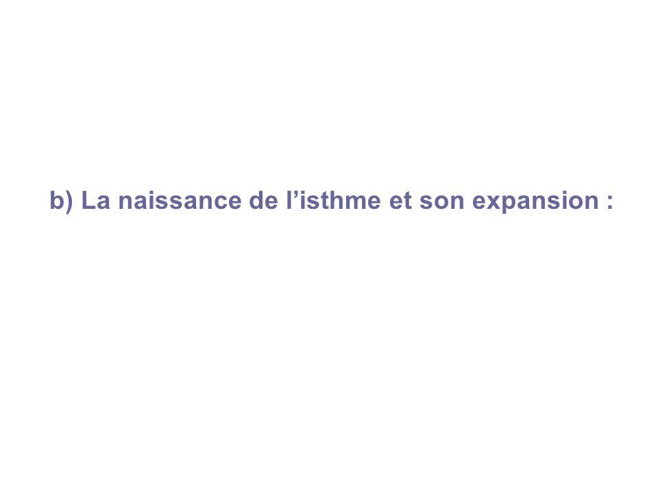 b) La naissance de listhme et son expansion :
