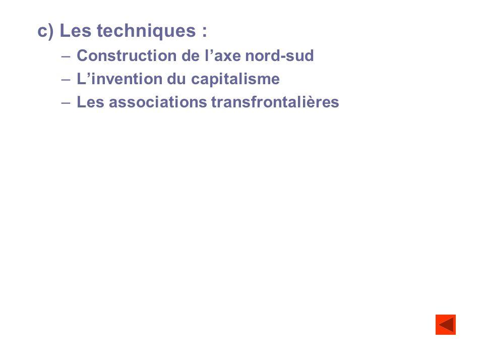 c) Les techniques : –Construction de laxe nord-sud –Linvention du capitalisme –Les associations transfrontalières