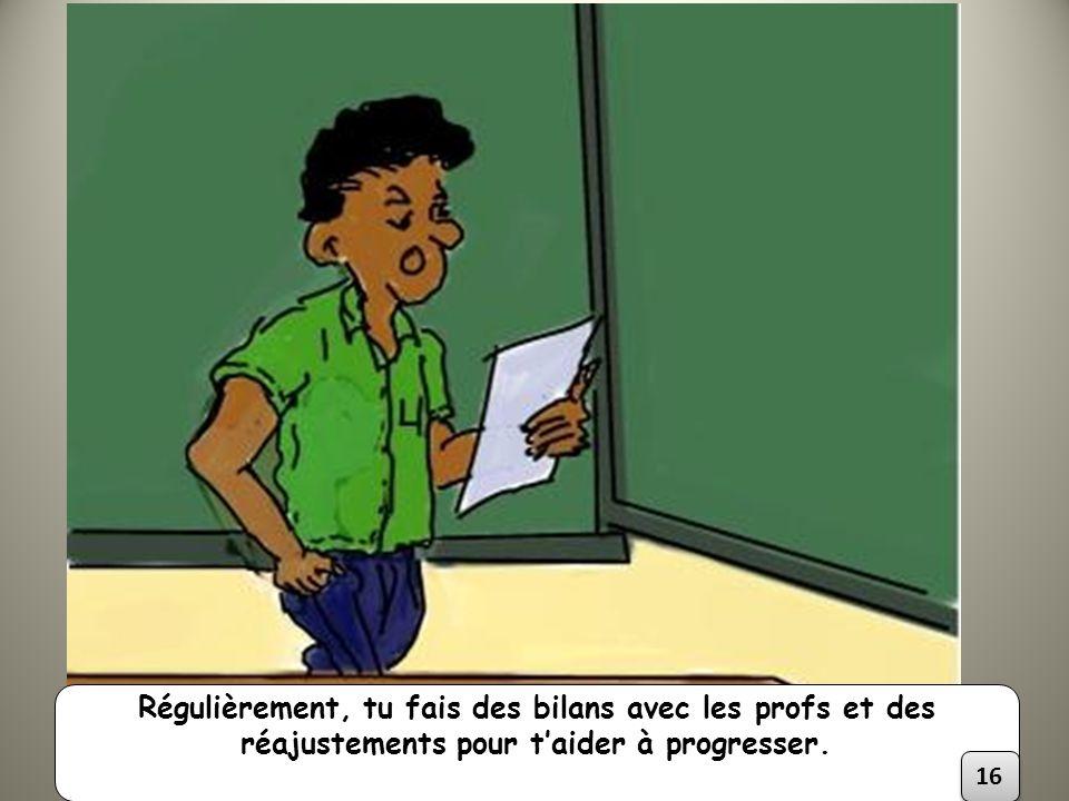 Régulièrement, tu fais des bilans avec les profs et des réajustements pour taider à progresser. 16