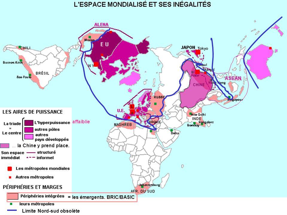 Limite Nord-sud obsolète affaiblie... la Chine y prend place. = les émergents. BRIC/BASIC ASEAN