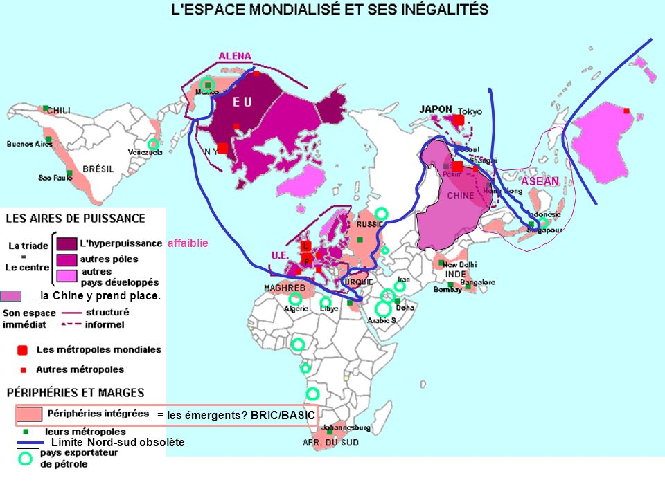 Limite Nord-sud obsolète affaiblie... la Chine y prend place. ASEAN = les émergents? BRIC/BASIC