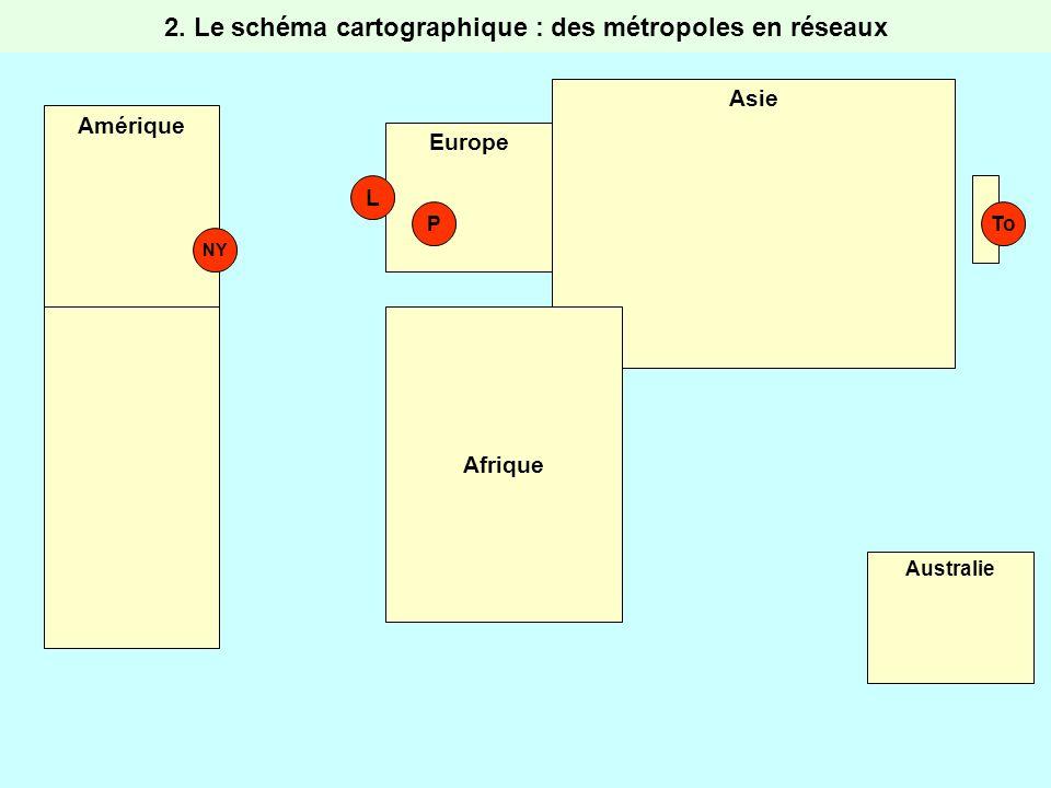 Amérique Europe Asie Afrique Australie NY L PTo 2. Le schéma cartographique : des métropoles en réseaux