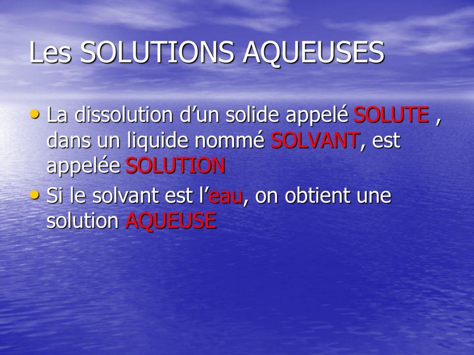 Les SOLUTIONS AQUEUSES La dissolution dun solide appelé SOLUTE, dans un liquide nommé SOLVANT, est appelée SOLUTION La dissolution dun solide appelé S