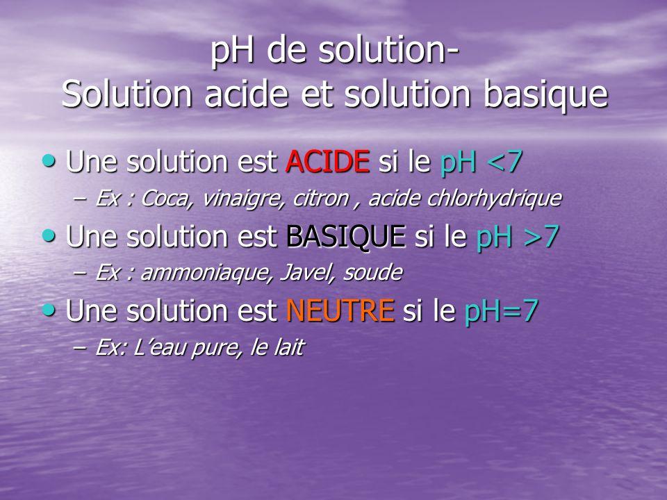 pH de solution- Solution acide et solution basique Une solution est ACIDE si le pH <7 Une solution est ACIDE si le pH <7 –Ex : Coca, vinaigre, citron,
