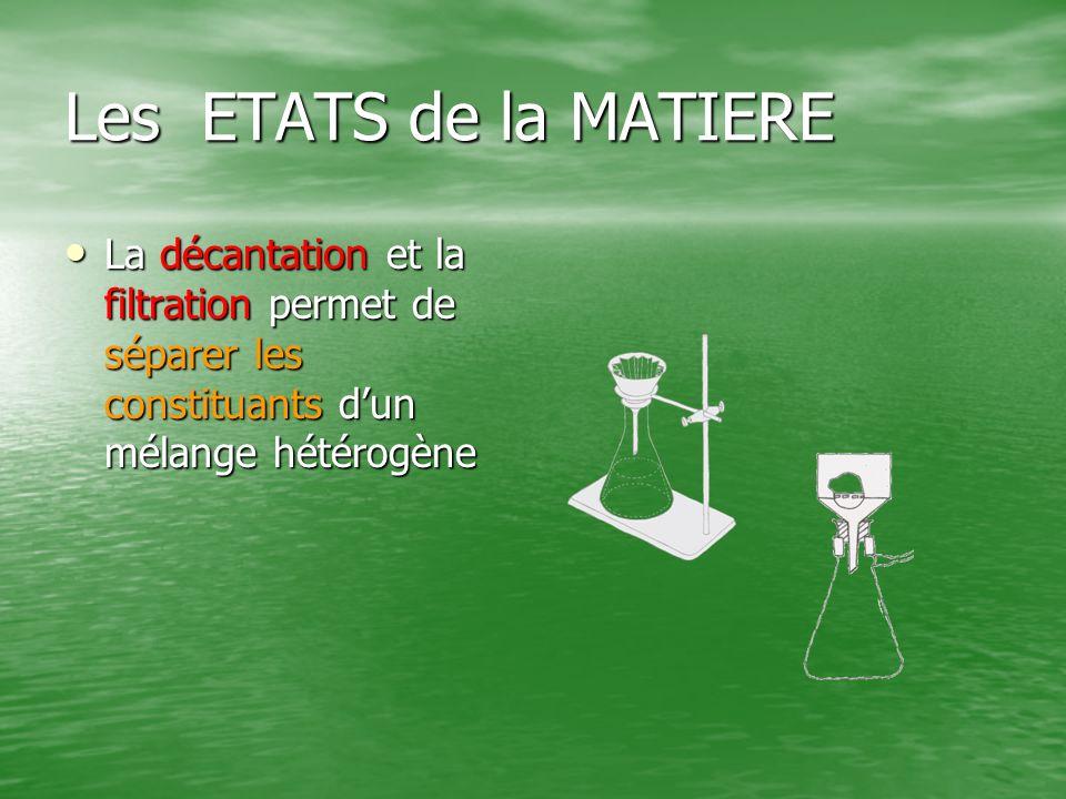 Les ETATS de la MATIERE La décantation et la filtration permet de séparer les constituants dun mélange hétérogène La décantation et la filtration perm