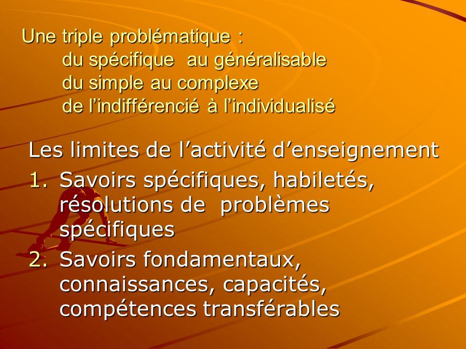 Une triple problématique : du spécifique au généralisable du simple au complexe de lindifférencié à lindividualisé Les limites de lactivité denseignement 1.Savoirs spécifiques, habiletés, résolutions de problèmes spécifiques 2.Savoirs fondamentaux, connaissances, capacités, compétences transférables