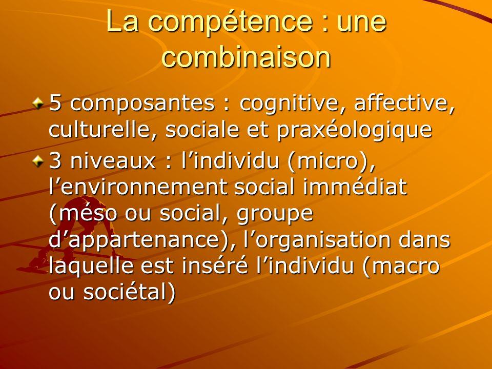 La compétence : une combinaison 5 composantes : cognitive, affective, culturelle, sociale et praxéologique 3 niveaux : lindividu (micro), lenvironnement social immédiat (méso ou social, groupe dappartenance), lorganisation dans laquelle est inséré lindividu (macro ou sociétal)
