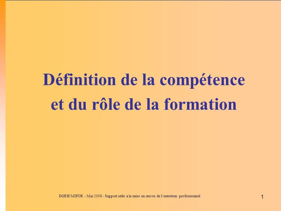 DGRH/MIFOR - Mai 2008 - Support utile à la mise en œuvre de lentretien professionnel 1 Définition de la compétence et du rôle de la formation