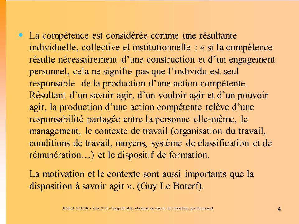 DGRH/MIFOR - Mai 2008 - Support utile à la mise en œuvre de lentretien professionnel 4 La compétence est considérée comme une résultante individuelle,