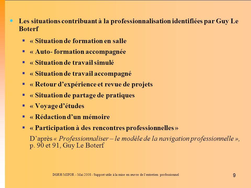 DGRH/MIFOR - Mai 2008 - Support utile à la mise en œuvre de lentretien professionnel 9 Les situations contribuant à la professionnalisation identifiée