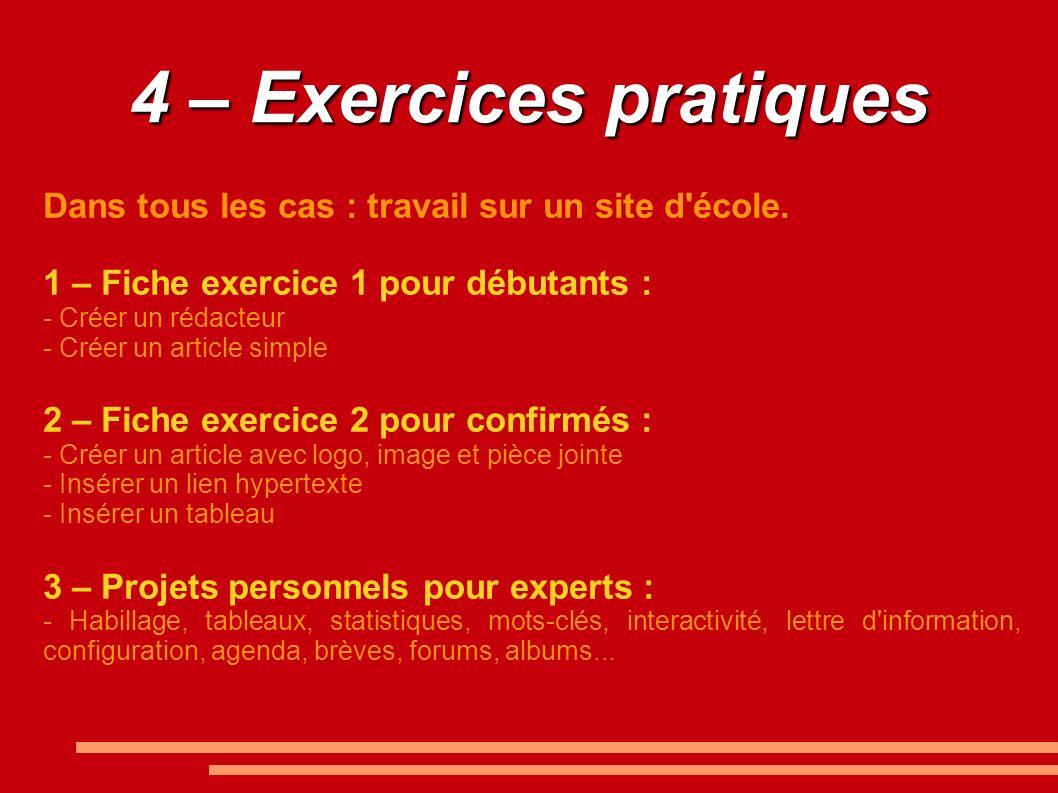 4 – Exercices pratiques Dans tous les cas : travail sur un site d'école. 1 – Fiche exercice 1 pour débutants : - Créer un rédacteur - Créer un article