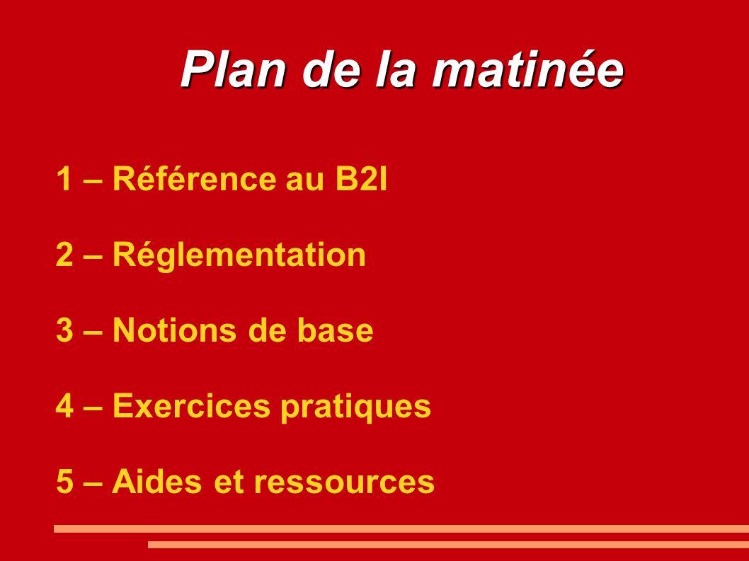 Plan de la matinée 1 – Référence au B2I 2 – Réglementation 3 – Notions de base 4 – Exercices pratiques 5 – Aides et ressources
