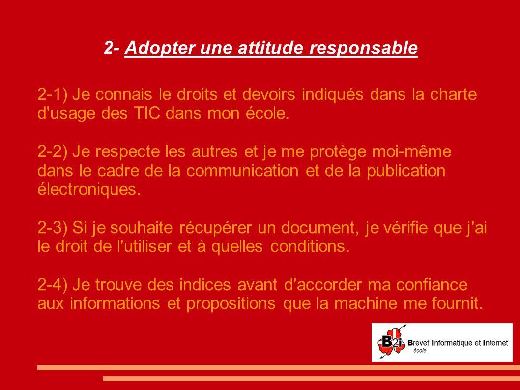2- Adopter une attitude responsable 2-1) Je connais le droits et devoirs indiqués dans la charte d'usage des TIC dans mon école. 2-2) Je respecte les