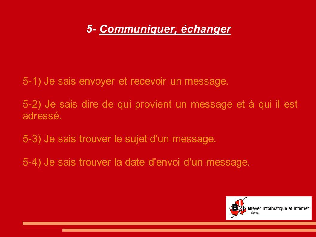 5- Communiquer, échanger 5-1) Je sais envoyer et recevoir un message. 5-2) Je sais dire de qui provient un message et à qui il est adressé. 5-3) Je sa