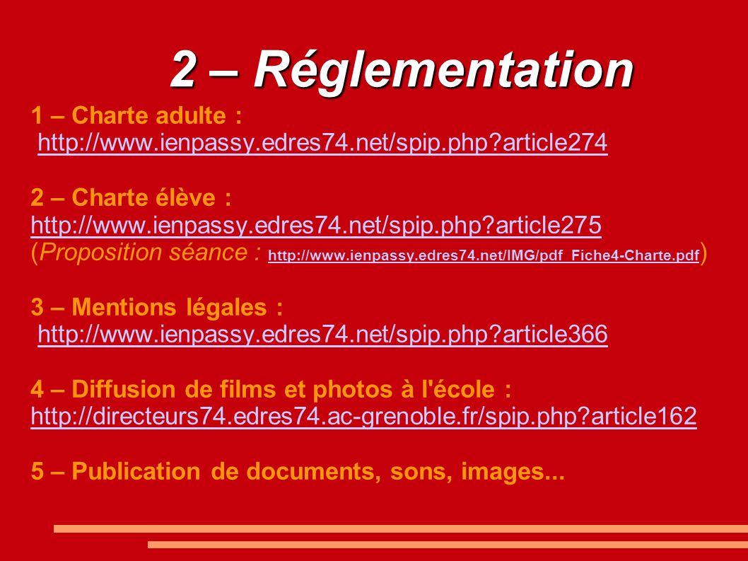 2 – Réglementation 1 – Charte adulte : http://www.ienpassy.edres74.net/spip.php?article274 2 – Charte élève : http://www.ienpassy.edres74.net/spip.php