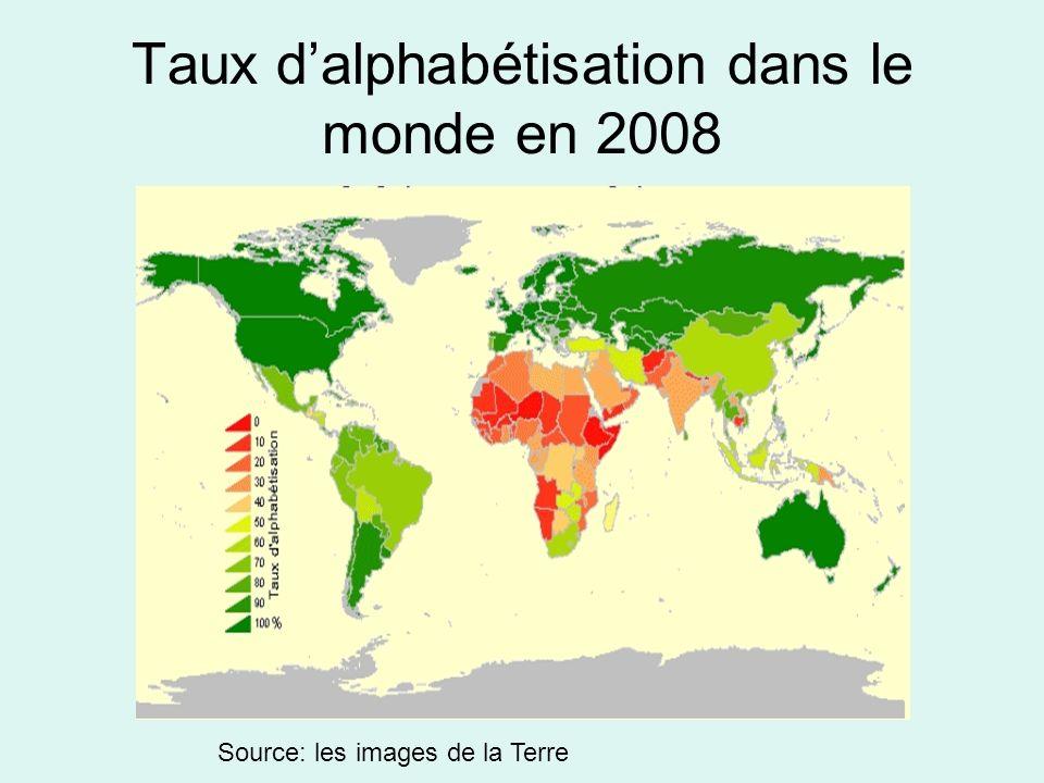 Taux dalphabétisation dans le monde en 2008 Source: les images de la Terre