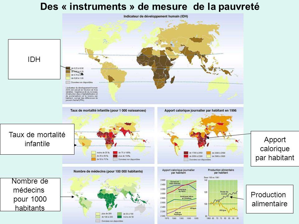 Des « instruments » de mesure de la pauvreté IDH Taux de mortalité infantile Production alimentaire Nombre de médecins pour 1000 habitants Apport calorique par habitant