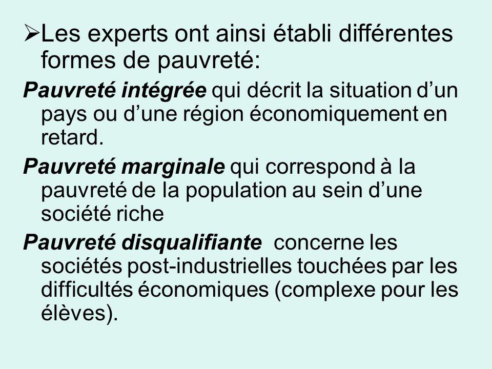 Les experts ont ainsi établi différentes formes de pauvreté: Pauvreté intégrée qui décrit la situation dun pays ou dune région économiquement en retard.