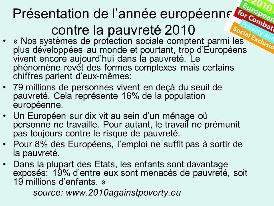 Présentation de lannée européenne contre la pauvreté 2010 « Nos systèmes de protection sociale comptent parmi les plus développées au monde et pourtant, trop dEuropéens vivent encore aujourdhui dans la pauvreté.