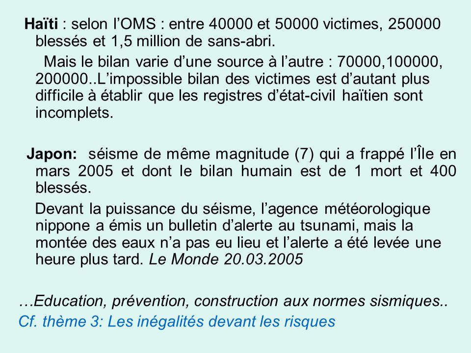 Haïti : selon lOMS : entre 40000 et 50000 victimes, 250000 blessés et 1,5 million de sans-abri.