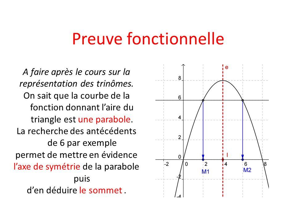 Preuve fonctionnelle A faire après le cours sur la représentation des trinômes. On sait que la courbe de la fonction donnant laire du triangle est une